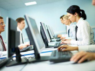 работники сидят за компьютерами