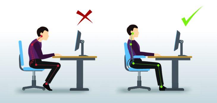 Правильное положение позвоночника при сидении